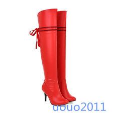 Womens Over The Knee Thigh High Boots Stilettos High Heel Lace Up Plus Size