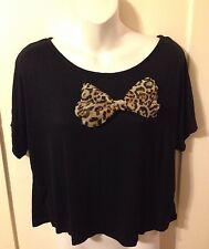 New Retro Rockabilly Pinup Black Dolman Sleeve Leopard Bow Crop Top Size Large