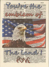 US Flag Bald Eagle Old Glory Altered Art Print Upcycled Vintage Dictionary Page