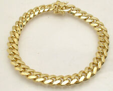 "8.5"" Italian Solid Miami Cuban Bracelet Double Lock 14K Yellow Gold Clad Silver"