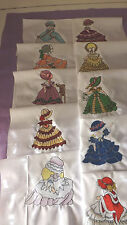 """10 CROSS STITCH EMBROIDERED """"VICTORIAN SUNBONNETS"""" 4 X 4  DONE ON 8x8"""" squares"""