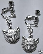GORGEOUS CAT'S FACE PEWTER TONE DETAILED HANDMADE EARRINGS SCREW FITTING