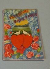 1912 Love Birds and Hearts Valentine Greetings Colorful Holiday Postcard Antique