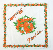 Vintage Sheer Florida Orange Blossom Souvenir Square Scarf Japan