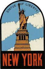 #661 (1) New York Statue of Liberty Luggage Label Travel Decal Sticker Repro