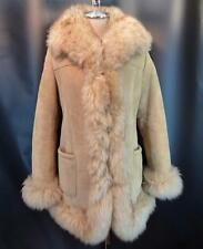 Vintage SHEARLING Sheepskin Suede Coat w/ Plush FUR Trim Boho Chic M