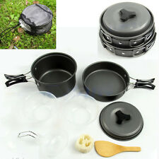 Outdoor Camping Hiking Cookware Picnic Bowl Pot Pan Bag Set Camp Kitchen