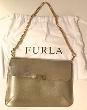 Furla Candy Gold Glitter Purse Rubber and Lizard-Print Leather With Chain Strap