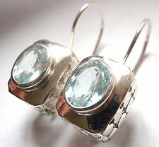 Faceted Oval Blue Topaz Wire Back Earrings 925 Sterling Silver Rectangle 8 Grams
