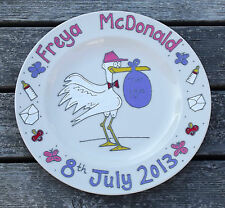 Hand painted personalised new baby birth gift plate stork design