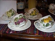 PORTMEIRION POMONA SET OF 4 TEA CUPS & SAUCERS *GET FOUR SUPER-RARITIES AT ONCE*