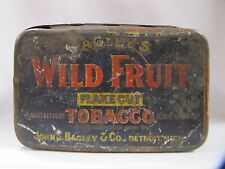 Bagleys Wild Fruit Tobacco Tin Antique Metal Flake Cut Detroit Michigan
