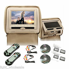 "2X 7"" HD LCD Pillow Back Car Active Headrest IR FM Monitor DVD Player Game Discs"