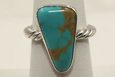 Signed Navajo Sterling Silver Crow Springs Mine Turquoise Ring Size 7