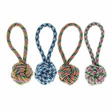 Puppy Dog Pet Tug Play Cotton Rope Throw and Ball Chew Toy with Knot Durable 1PC