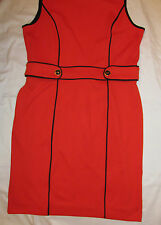 BANANA REPUBLIC bright red sleevelss mod retro go go shift dress 14 NWT