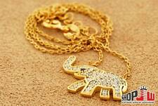 "Ladies .925 Silver Simulated Diamond Elephant Charm Necklace 17"" Gold Finish"