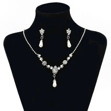 Women's Hot Pearl Bride Necklace Pendant Chain Earrings Jewelry Set