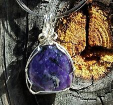 You Want Charoite Stress Relief Serenity Sterling Silver Wire Wrap Reiki Pendant