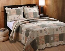 LOG CABIN RUSTIC COZY FLORAL VINTAGE GREEN TAN BROWN QUILT SET QUEEN & KING SZS