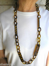 "Vintage 39"" Tortoise Shell Color Plastic Celluloid Chain Necklace Belt Crafts"