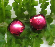 2 GORGEOUS MATCHING FUSCHIA PINK FOIL GLASS CHARMSTRING BUTTONS P44