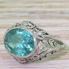 ART DECO 4.40ct MINOR OIL ZAMBIAN EMERALD RING - Platinum - dated 1930