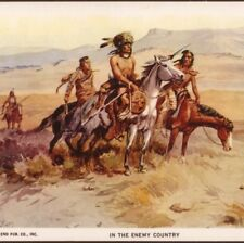 "C. RUSSELL...INDIANS SCOUTING ""IN THE ENEMY COUNTRY"" AMERICAN WEST,1952 POSTCARD"