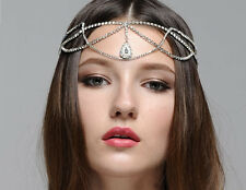 Bridal Hair Jeweled Headpiece Forehead Hobo Bohemian Head Chain headdress
