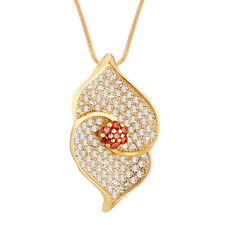 Spargz Floral Daily Wear  Brass Gold Cubic Zircon Pendant For Women AIP 093