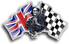 La morte il tristo mietitore & Union Jack British Bandiera RACING vinile Car Adesivo Casco
