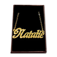 Gold Plated Name Necklace - NATALIE - Gift Ideas For Her - Birthday Pendant