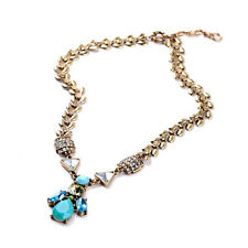 Exquiste Anthropologie Bellini Blue Teal Gemmed Gold Chain Necklace