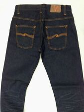 NEW W32 L34 NUDIE jeans HANK REY ORG INDIGO DEPTH - DARK BLUE STRAIGHT RAW