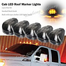 5pcs Amber LED Smoke Roof Cab Marker Clearance Lights Truck SUV Off Road 4x4