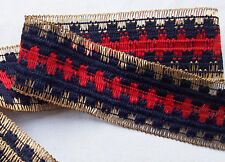 Vintage Woven Trim Navy Blue & Red w/Gold Metallci Accent Unique French