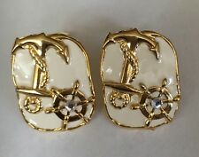 Completely Amazing Nautical Gold Tone Anchor & Helm on White Clip On Earrings