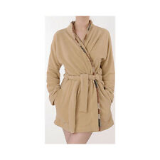 Divertimento Beige Fine Fleece And Fur Short Wrap Robe L