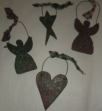 4 pc Lot Wooden Primitive Glistening Angels Heart Star Christmas Tree Ornaments