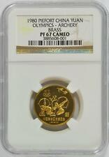 China 1980 Olympics Archery Brass Piefort NGC PF-67 Cameo