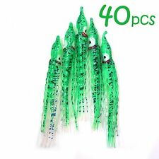 "40pcs 5"" Curly Squid Skirts Hoochies Rock Fish Lure Octopus Bait Green Glow New"