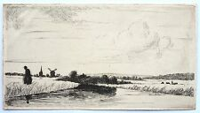 David Charles Read (1790-1851) Etching. Landscape with a figure beside a river.