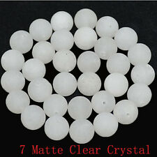 """4mm Natural Frosted Matte Clear Crystal Round Loose Beads 15.5"""""""