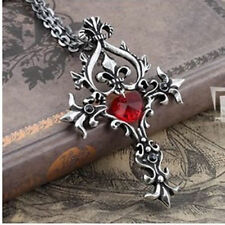 Necklace Pendant Lg Cross Silver Vintage Red Crystal Love Heart Vampire Diaries