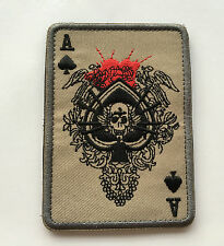 ACE OF SPADES DEATH SKULL CARD USA ARMY TACTICAL MORALE   PATCH  sk  516
