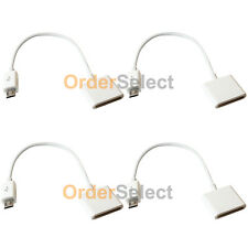 4 White Charger Adapter for Apple iPhone 4 to Micro USB Samsung Note 2 S2 S3 S4