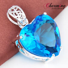 Holiday Gift Fashion Heart London Blue Topaz Gems Solid Silver Necklace Pendant