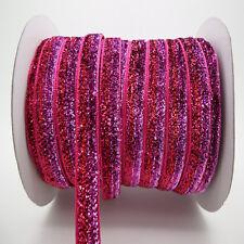 """5yards 3/8"""" 10mm Sparkle Glitter Velvet Ribbon Headband Clips Bow Decorate ZV04"""