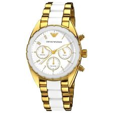 NEW EMPORIO ARMANI GOLD AND WHITE CHRONO STAINLESS STEEL LADIES WATCH AR5944