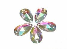 50pcs AB CLEAR PEAR 18*10mm RESIN Sew On DIAMANTE Rhinestone Crystal Gems